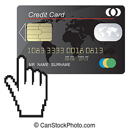 crédit, noir, carte, vecteur, main