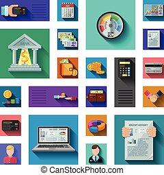 crédit, ombre, classement, plat, icônes
