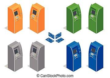 crédit, paiement, distributeur billets banque, finance, argent., card., infographics., set., illustration, isométrique, machines., icône, vecteur, utilisation, plat, banque