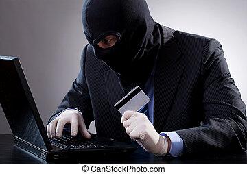 crédit, pirate informatique, tenue, carte