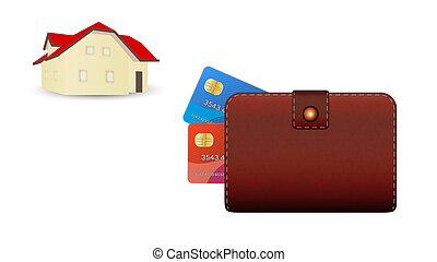 crédit, portefeuille, carte, maison