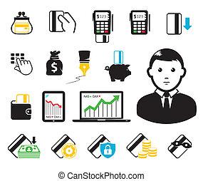 crédit, pos-terminal, carte, icônes