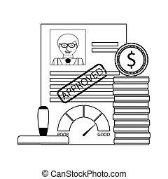 crédit, prêt, approuvé