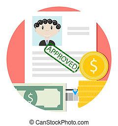 crédit, prêt, icône, approuvé, ou