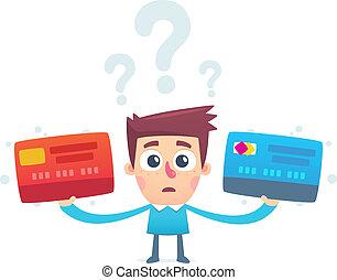 crédit, problème, carte, choisir