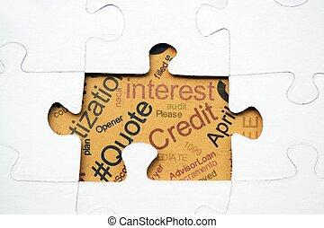crédit, puzzle, concept