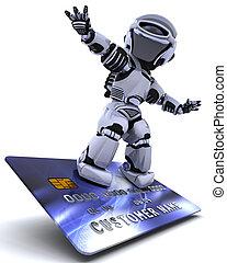 crédit, surfer, robot, carte