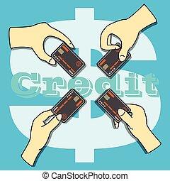 crédit, tenue, carte, mains