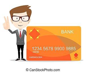 crédit, usage, publicité, carte, homme