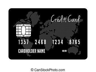 crédit, vecteur, carte, illustration