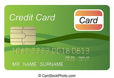 crédit, vecteur, vert, carte
