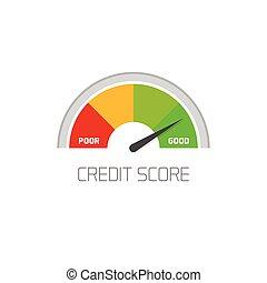 crédito, contagem, escala, mostrando, bom, valor, vetorial,...