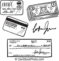crédito, esboço, finanças, itens