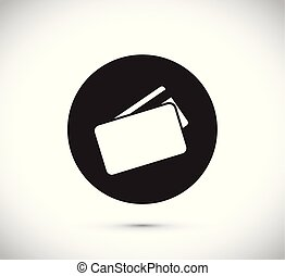 crédito, flutuante, cartão, ícone