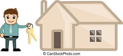 crédito imobiliário, -, caricatura, negócio