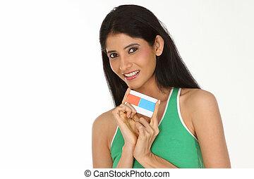 crédito, menina adolescente, cartão