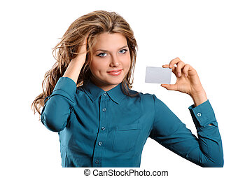 crédito, mostrando, menina, mão cartão