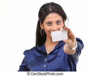 crédito, mulher, cartão