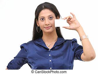 crédito, mulher segura, cartão