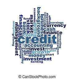 crédito, palavra, nuvem