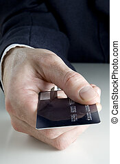 crédito, segurando, cartão