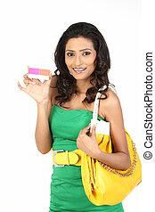 crédito, segurando, mulher, cartão