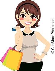 crédito, shopping mulher, cartão