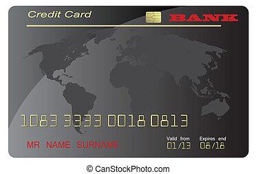 crédito, vetorial, pretas, cartão