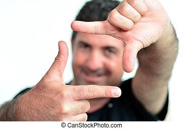 créer, cadre, doigts, mûrir, heureux, homme