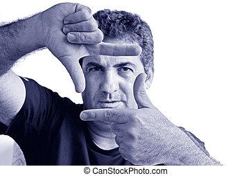 créer, cadre, doigts, mûrir, sérieux, homme