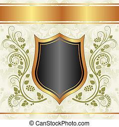 crémeux, noir, or, fond