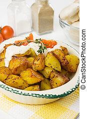 crémeux, rôti, sauce, pomme terre