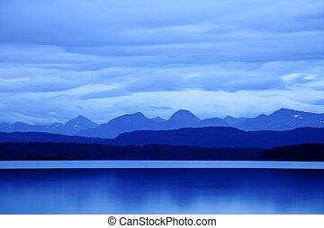 crépuscule, à, moldefjord