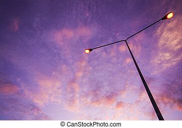 crépuscule, éclairage, ciel, route