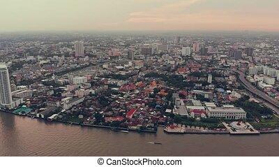 crépuscule, chao, pourpre, phraya, river., en ville, bangkok