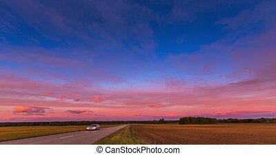 crépuscule, crépuscule, aube, couleur, nuages, soir, nature, temps, arrière-plan., beauty., ciel, dramatique, coucher soleil rouge, défaillance, summer., timelapse, road.