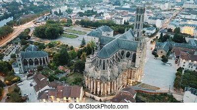 crépuscule, france, cathédrale, romain, limoges, catholique...