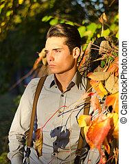 crépuscule, nature, dehors, jeune, tomber gars, (autumn), beau