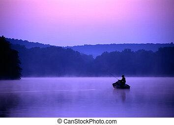 crépuscule, pêcheur