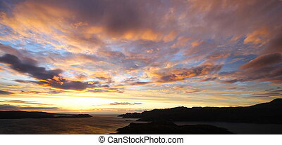 crépuscule, paysage, écossais