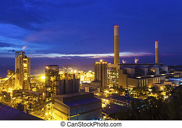 crépuscule, photo, de, centrale électrique