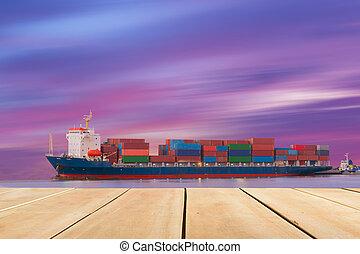 crépuscule, port, bateau, prise vue., récipient