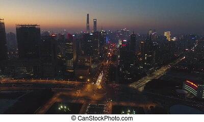 crépuscule, shanghai, horizon