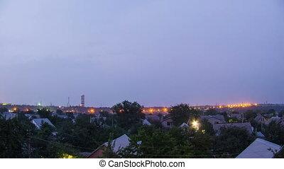 crépuscule, sur, city., nuit