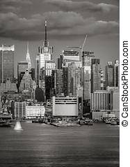 crépuscule, ville, ouest,  midtown,  York, nouveau,  Manhattan