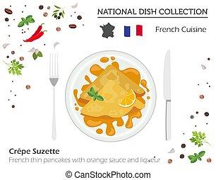 crêpes, collection., national, isolé, francais, plat, infographic, cuisine., mince, blanc, orange, liquer, sauce, européen