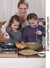 crêpes, cuisine, famille