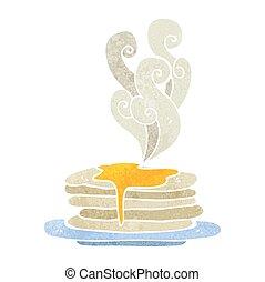 crêpes, dessin animé, pile, retro