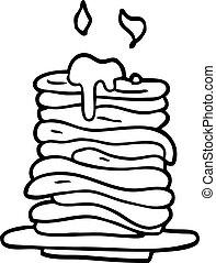 crêpes, dessin ligne, dessin animé, pile