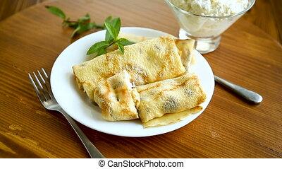 crêpes, frit, petite maison, doux, intérieur, fromage, mince